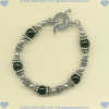 Toggle bracelet with handmade sterling silver beads and black onyx gemstones. - Click for a larger picture