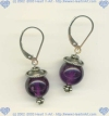 Bali sterling silver bead, sterling silver leverback and 10 mm round amethyst Earrings - Click for a larger picture